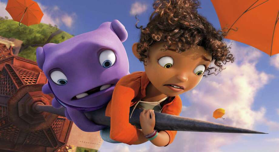 "In this image released by DreamWorks Animation, characters Oh, voiced by Jim Parsons, left, and Tip, voiced by Rihanna appear in a scene from the animated film ""Home."" (AP Photo/DreamWorks Animation)  ORG XMIT: NYET114 Photo: DreamWorks Animation / DreamWorks Animation"
