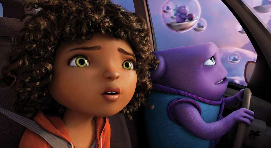 """In this image released by DreamWorks Animation, characters Oh, voiced by Jim Parsons, right, and Tip, voiced by Rihanna appear in a scene from the animated film """"Home."""" (AP Photo/DreamWorks Animation)  ORG XMIT: NYET116 Photo: DreamWorks Animation / DreamWorks Animation"""