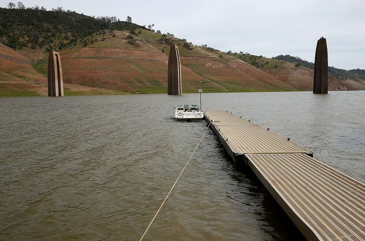 LA GRANGE, CA - MARCH 24: Concrete pillars from the Barrett Bridge that was demolished after the Yosemite Valley Railraod went out of service in 1945 are visible as Lake McClure water levels decline on March 24, 2015 in La Grange, California. More than 3,000 residents in the Sierra Nevada foothill community of Lake Don Pedro who rely on water from Lake McCLure could run out of water in the near future if the severe drought continues. Lake McClure is currently at 7 percent of its normal capacity and residents are under mandatory 50 percent water use restrictions. (Photo by Justin Sullivan/Getty Images)
