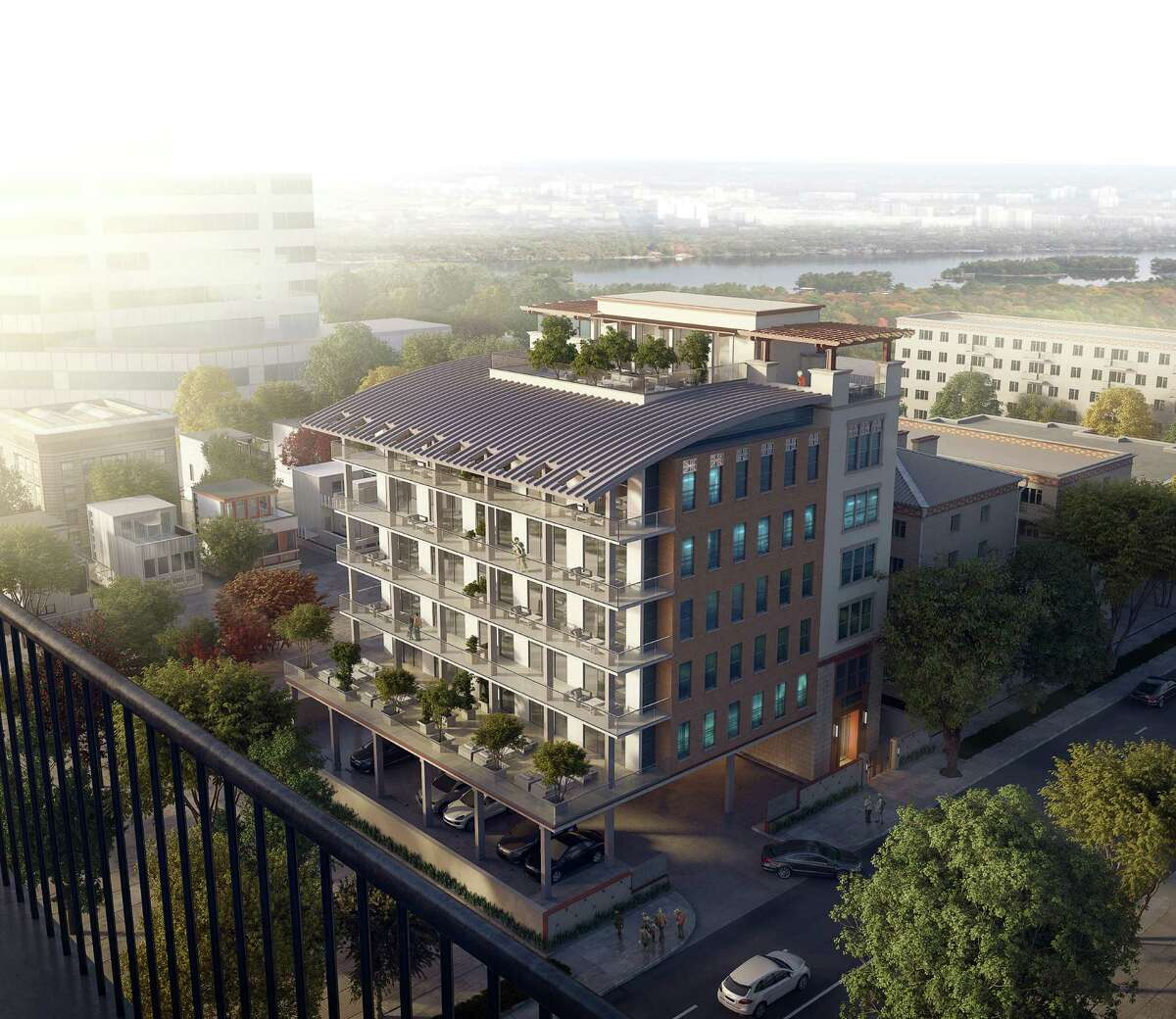 A rendering of the Monroe at Bayou Park, a six-story midrise at 1034 Rochow St. between West Dallas and West Clay. The building was designed by Masa Studio.