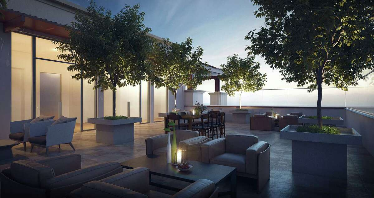This rendering shows outdoor space at the Monroe at Bayou Park, a six-story condo building between West Dallas and West Clay.