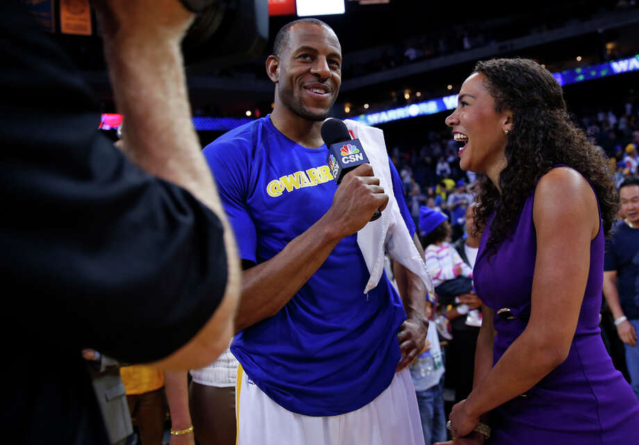 Warriors swingman turned the tables and interviewed CSNBA sideline reporter Rosalyn Gold-Onwude after Golden State beat the Atlanta Hawks. Photo: Scott Strazzante / The Chronicle / ONLINE_YES