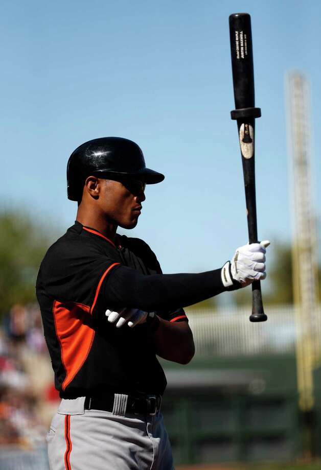 San Francisco Giants' Justin Maxwell against Texas Rangers in Spring Training Cactus League game at Surprise Stadium in Surprise, Arizona, on Friday, March 6, 2015. Photo: Scott Strazzante / The Chronicle / ONLINE_YES
