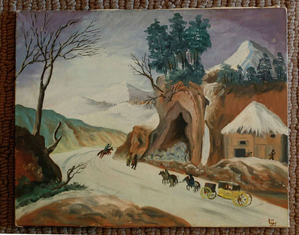 A painting by a 13-year-old Bita Daryabari hangs in her Atherton home.