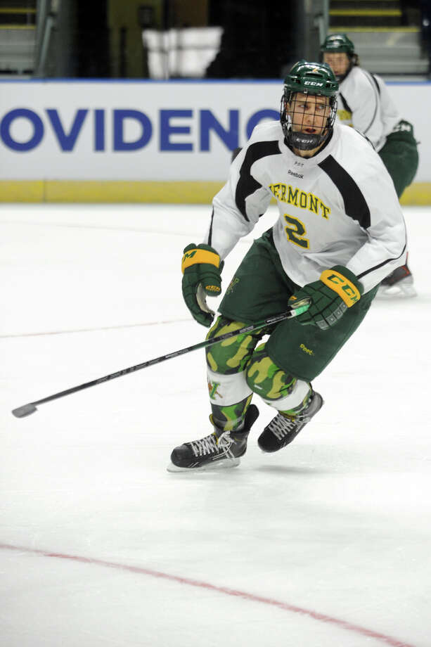 Michael Paliotta, a junior defenceman on the University of Vermont men's hockey team, practices with his team at Webster Bank Arena, in Bridgeport, Conn. March 27, 2014. Paliotta is from Westport. Photo: Ned Gerard / Connecticut Post