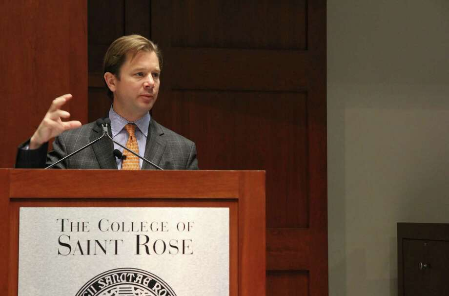 Dr. Gregory Dorn, president of Hearst Health, speaks on Thursday, March 26, 2015, during the Hearst Lecture on Innovation in Communications at The College of Saint Rose in Albany. (Photo courtesy of Ben Marvin/The College of Saint Rose)