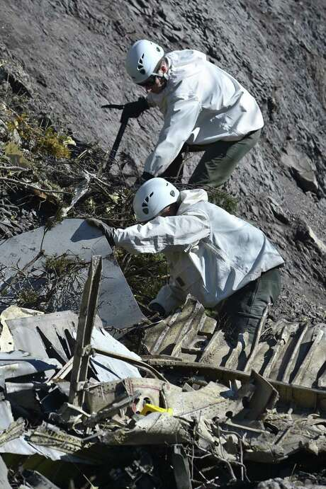 SEYNE, FRANCE - MARCH 26:  In this handout image provided by French Interior Ministry, the Rescue workers and gendarmerie continue their search operation near the site of the Germanwings plane crash near the French Alps on March 26, 2015 in La Seyne les Alpes, France. Germanwings flight 4U9525 from Barcelona to Duesseldorf  has crashed in Southern French Alps. All 150 passengers and crew are thought to have died. (Photo by Francis Pellier MI DICOM/Ministere de l'Interieur/Getty Images) Photo: Handout, Handout / Getty Images / 2015 French Interior Ministry