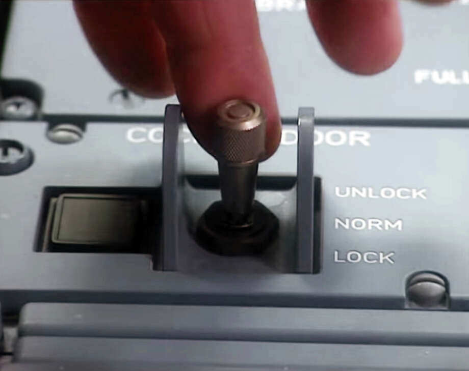 An image from a video provided by Airbus showing the area of the control panel where the cockpit locking control is located. The co-pilot of Germanwings flight 9525 deliberately crashed the aircraft, French officials said Thursday, March 26, 2015, pointing to voice recorder evidence that he had locked the captain out of the cockpit, ignored his pleas for re-entry and steered down into the French Alps as passengers were heard screaming. (Airbus via The New York Times) - EDITORIAL USE ONLY - NO SALES  ORG XMIT: NYT1 Photo: AIRBUS / AIRBUS