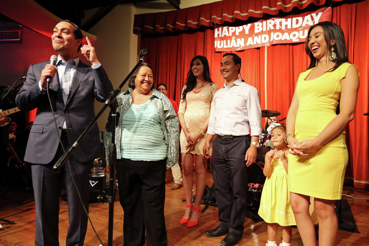 Mayor Julian Castro (from left) Rosie Castro (the twins mom), Joaquin Castro's fiancee Anna Flores, U.S. Rep. Joaquin Castro, D-San Antonio, Julian Castro's daughter Carina Castro, and wife Erica Castro celebrate the twins 39th birthdays Monday Sept. 16, 2013 at the Pearl Stable.