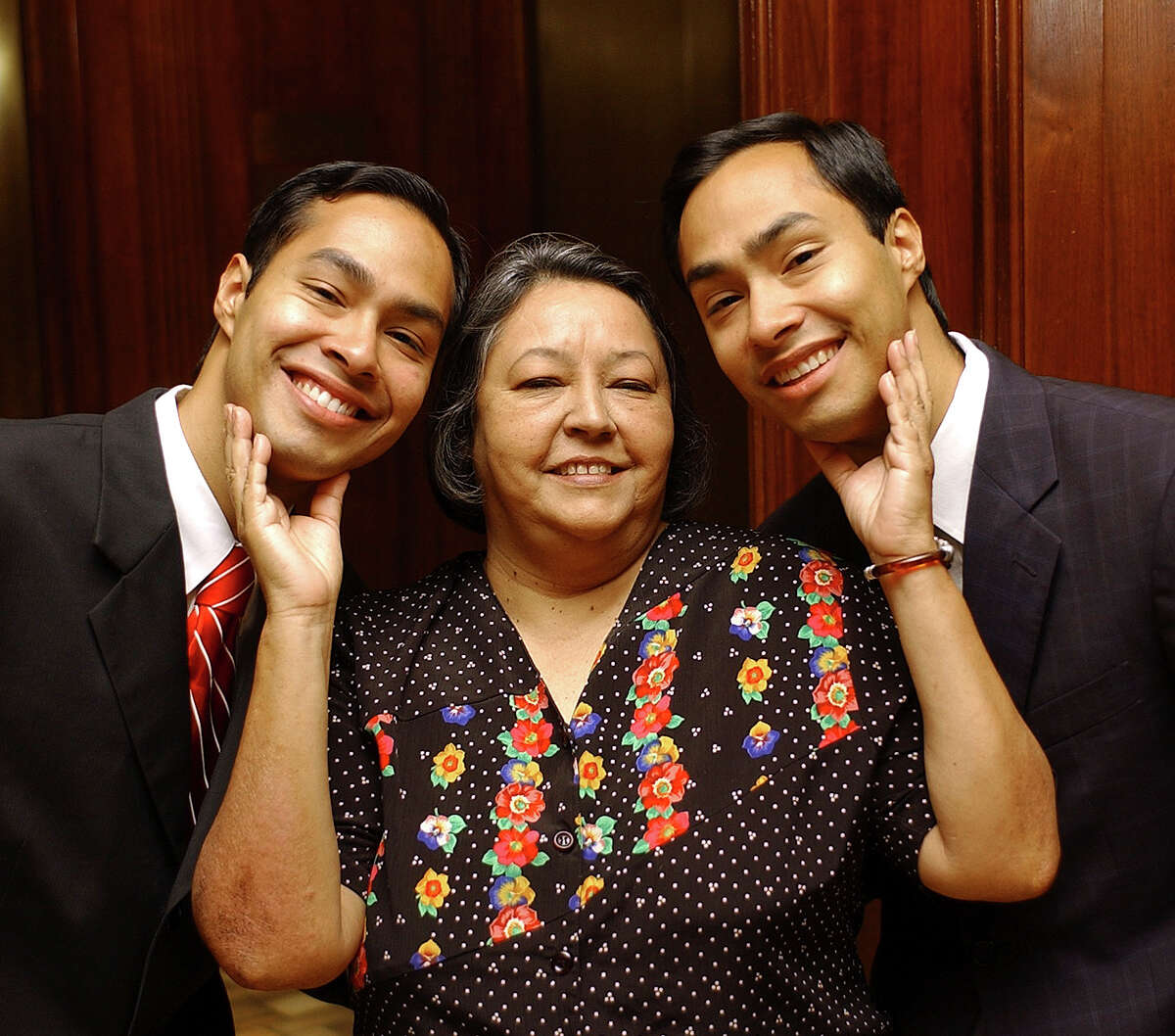 The Castros, Julian, Rosie and Joaquin, pose for a portrait on Sunday April 23, 2006. Helen L. Montoya/Staff