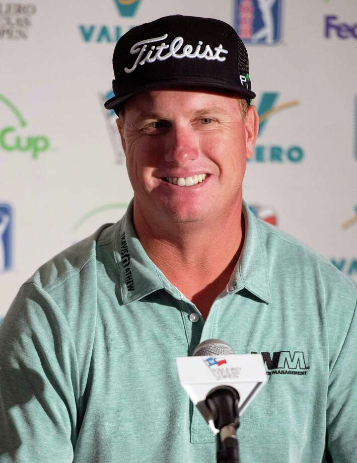 Charley Hoffman speaks at a news conference after the first round of the Valero Texas Open golf tournament, Thursday, March 26, 2015, in San Antonio. Hoffman finished the round in first place at five under par. (AP Photo/Darren Abate) ORG XMIT: TXDA119 Photo: Darren Abate / FR115 AP