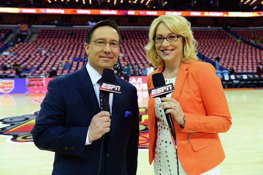 ESPN play by play announcers Dave O'Brien, left, and Doris Burke during the Women's Final Four. (Phil Ellsworth / ESPN Images) Photo: Phil Ellsworth / 2013, ESPN Inc.