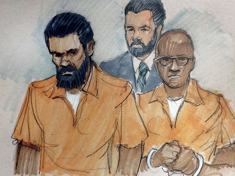 In this courtroom sketch, Jonas M. Edmonds, left, and Hasan R. Edmonds, right, stand in front of an FBI agent as they appear at a hearing at federal court in Chicago, Thursday, March 26, 2015, following their arrests Wednesday on charges of conspiring with the Islamic State group. Hasan Edmonds, an Illinois Army National Guard soldier, and his cousin, Jonas Edmonds, are both U.S. citizens from the Chicago suburb of Aurora. (AP Photo/Tom Gianni) ORG XMIT: CX104 Photo: Tom Gianni / AP