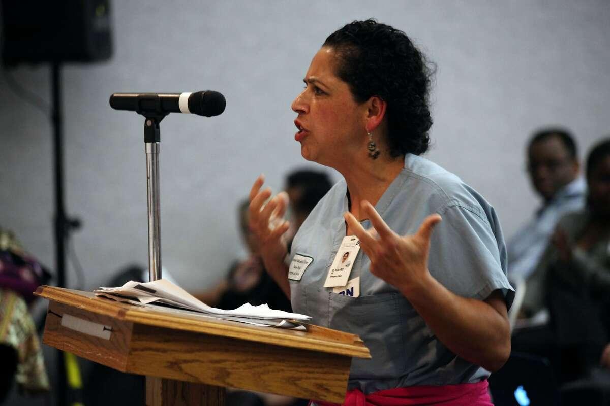 Maria Salaguna speaks at Doctors Medical Center in San Pablo, Calif., Thursday March 26, 2015.