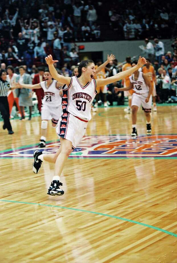 Rebecca Lobo celebrates UConn's first national championship in 1995. The Huskies capped a perfect season with a 70-64 victory over Tennessee at the Target Center in Minneapolis. Photo: Contributed Photo/University Of / Connecticut Post Contributed