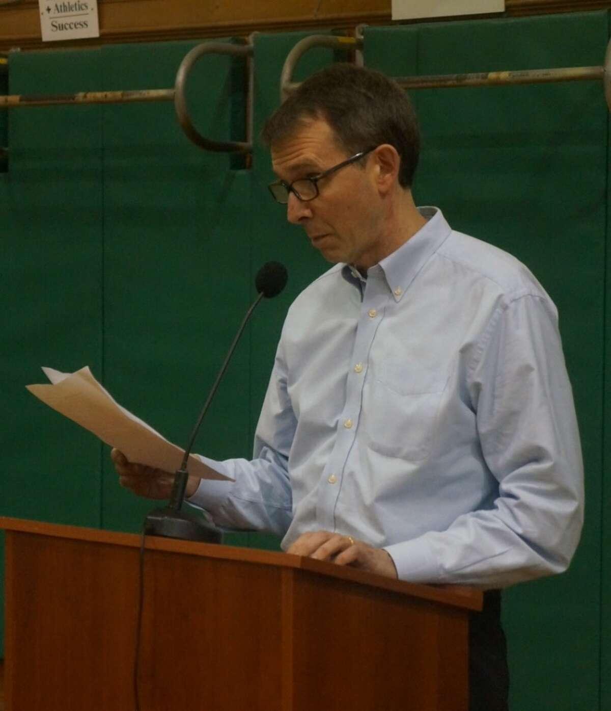 Wheatleigh Dunham speaks at Thursday's Board of Education meeting at Julian Curtiss School