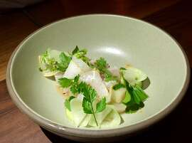 Central Kitchen: Raw halibut with kohlrabi, avocado and Asian pear ($18)  and also part of the $75 fixed-price menu.