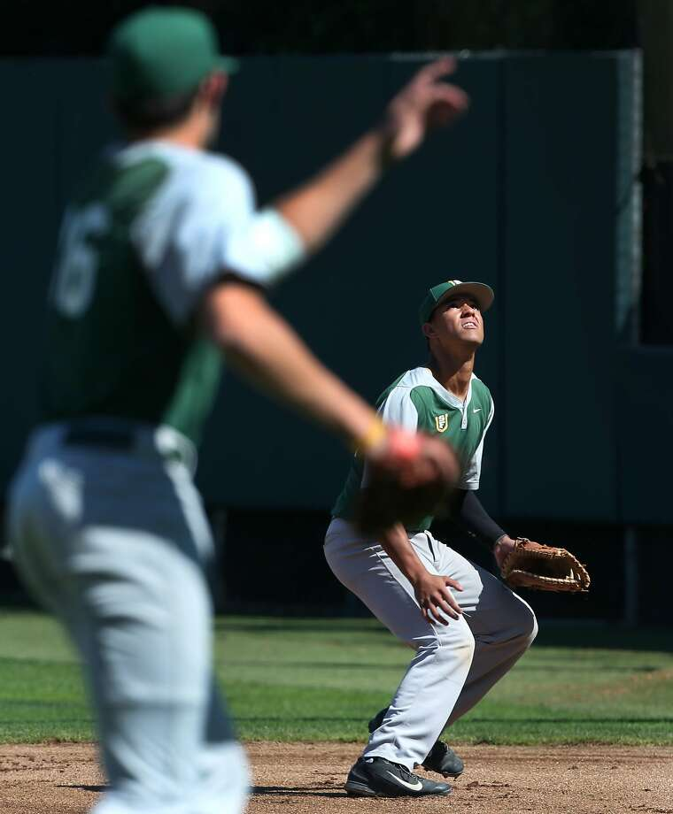 Manny Ramirez Jr. gets under a pop up during a practice with the USF Dons baseball team in San Francisco, Calif. on Thursday, March 26, 2015. Ramirez is the starting first baseman for the Dons. Photo: Paul Chinn, The Chronicle