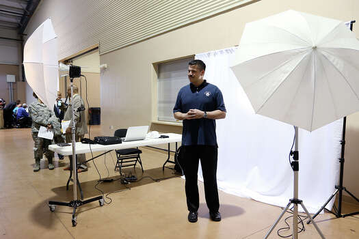 U.S. Air Force Senior Master Sgt. Juan Vargas, 45, gets his portrait taken by Laurie Rush (not in picture) during the San Antonio Military Hiring Fair and Veterans Information Village. The photos, which were free, can be used on an applicant's LinkedIn page or job application. On Friday, the Federal Reserve Bank of Dallas reported that San Antonio region's unemployment rate fell to 3.8 percent in February from 3.9 percent in January, continuing a steady decline from 5.2 percent in February 2014. The last time the region's jobless rate was so low was in October 2000. Photo: Jerry Lara /San Antonio Express-News / © 2015 San Antonio Express-News