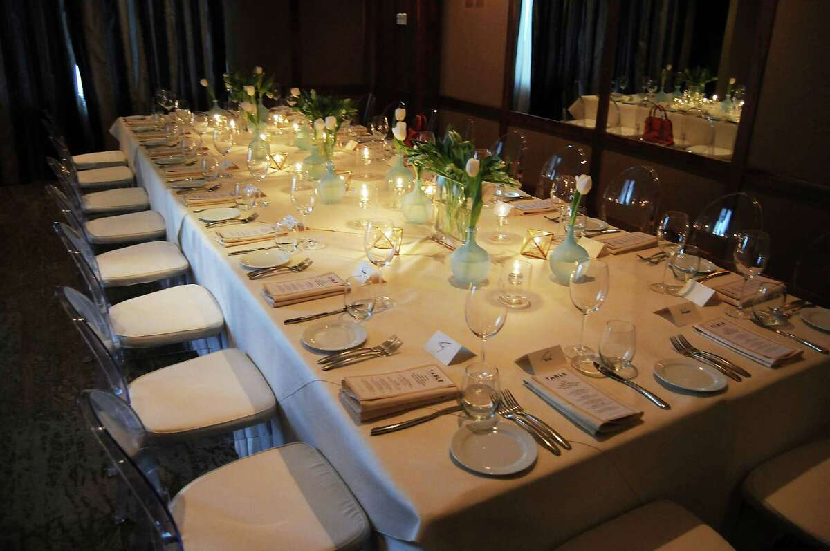 The table set-up at a private dinner at Table on Post Oak Thursday March 26, 2015.(Dave Rossman photo)