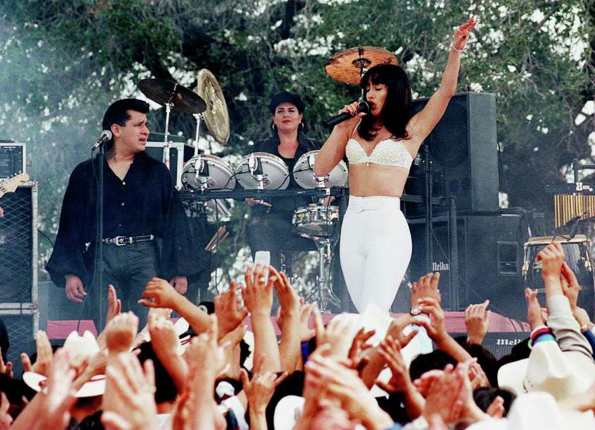 Jennifer Lopez performs as Selena in the motion picture during filming in Poteet.