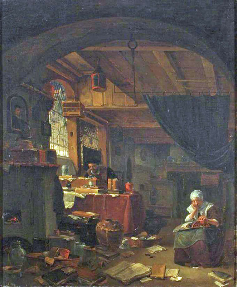 "Thomas Wijck (17th century, Dutch), The Alchemist in His Study with a Woman Making Lace; Chemical Heritage Foundation Fisher Collection, Gift of Fisher Scientific International. Doctoral candidate Elisabeth Berry Drago will discuss ""The Bewitching Chemistry: Artistic Experiment and the Making of Color in the Dutch Republic,î 10 a.m. March 30, Bruce Museum, 1 Museum Drive. Photo: Contributed Photo / Greenwich Time Contributed"