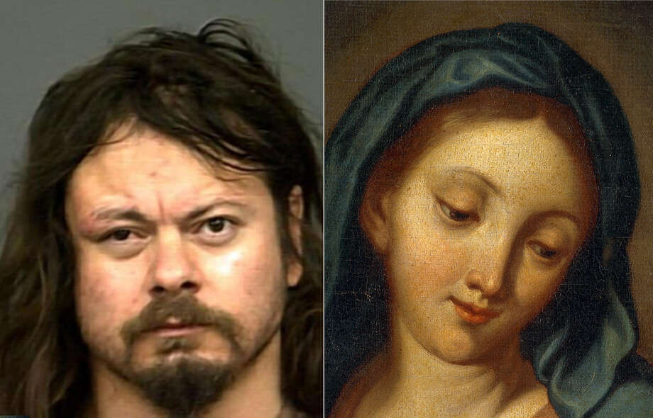 The 40-year-old and the Virgin: Andrew Gilbertson claims the Virgin Mary told him to eat his own feces. Photo: Getty / SLO Police Dept.