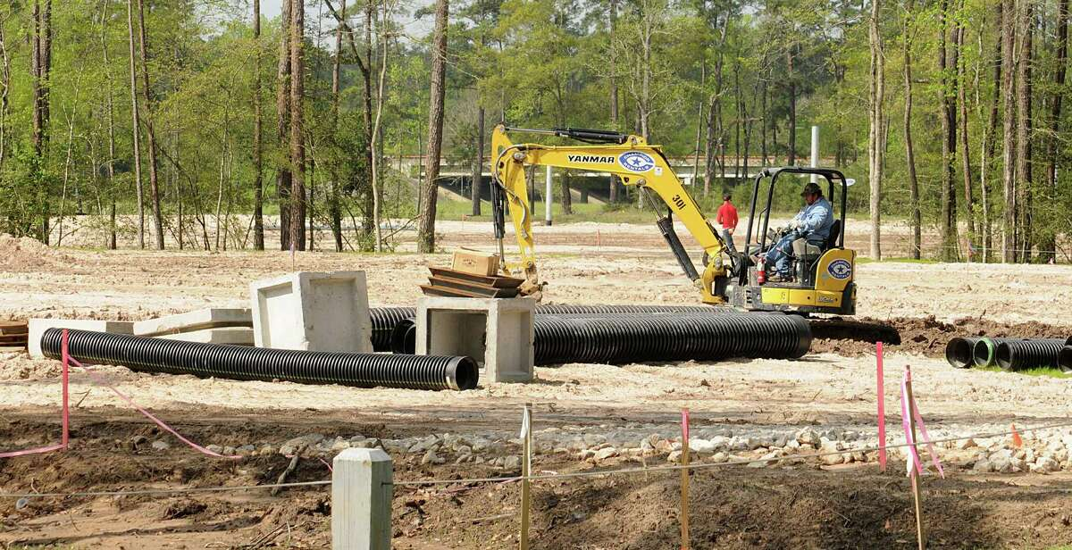 Water and drainage pipes are being placed at the Gosling Road Sports Field Park, on the southeast corner of Gosling Road and Marisco Place. Photograph by David Hopper