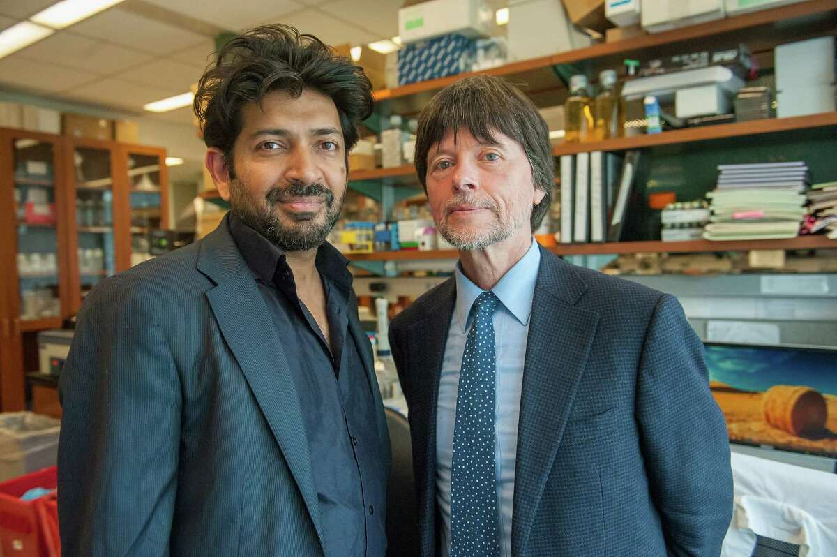 """Dr. Siddhartha Mukherjee, left, and filmmaker Ken Burns, teamed up to produce the six-hour documentary """"Cancer: The Emperor of All Maladies."""""""