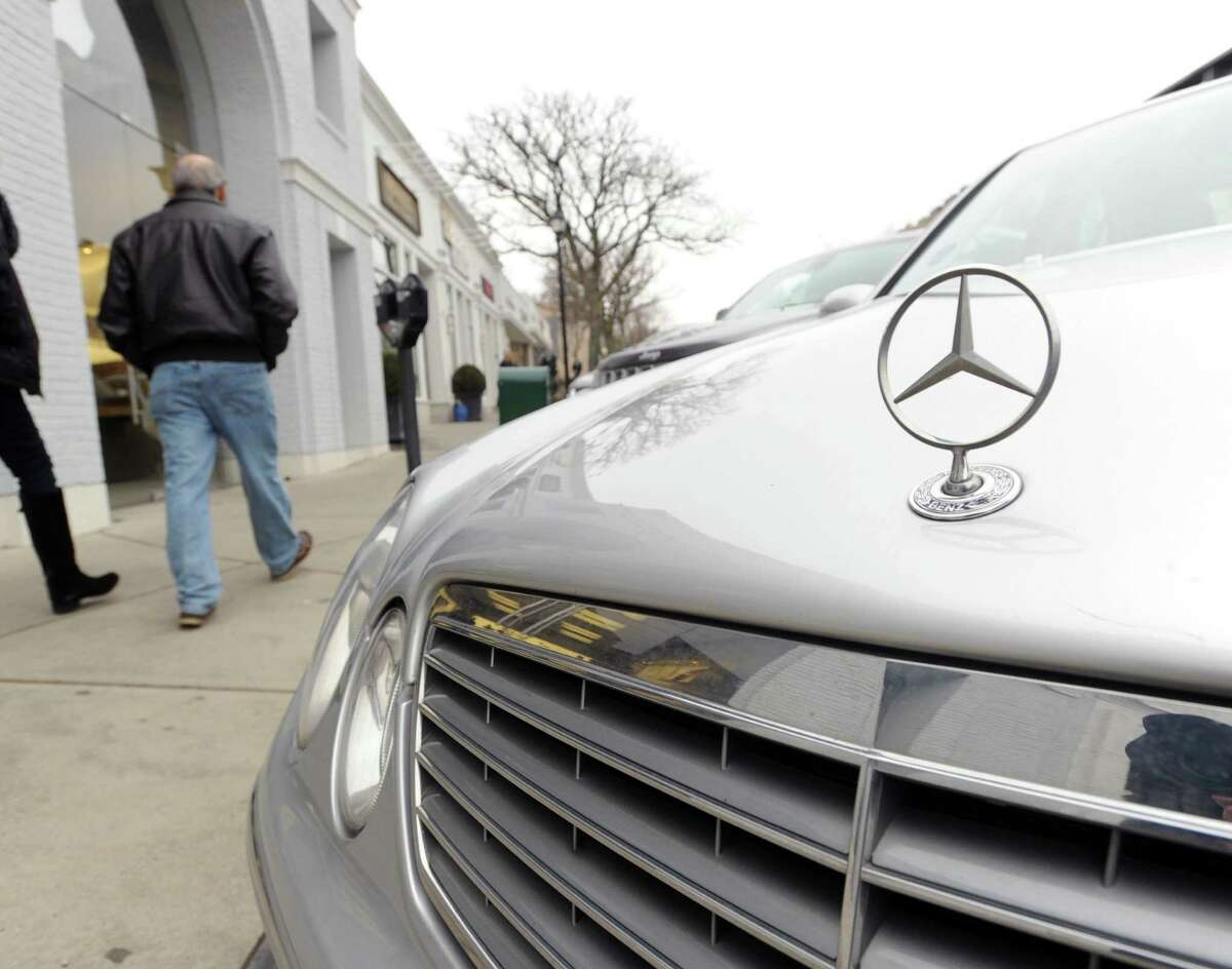 A Mercedes-Benz parked on Greenwich Avenue in Greenwich, Conn.,