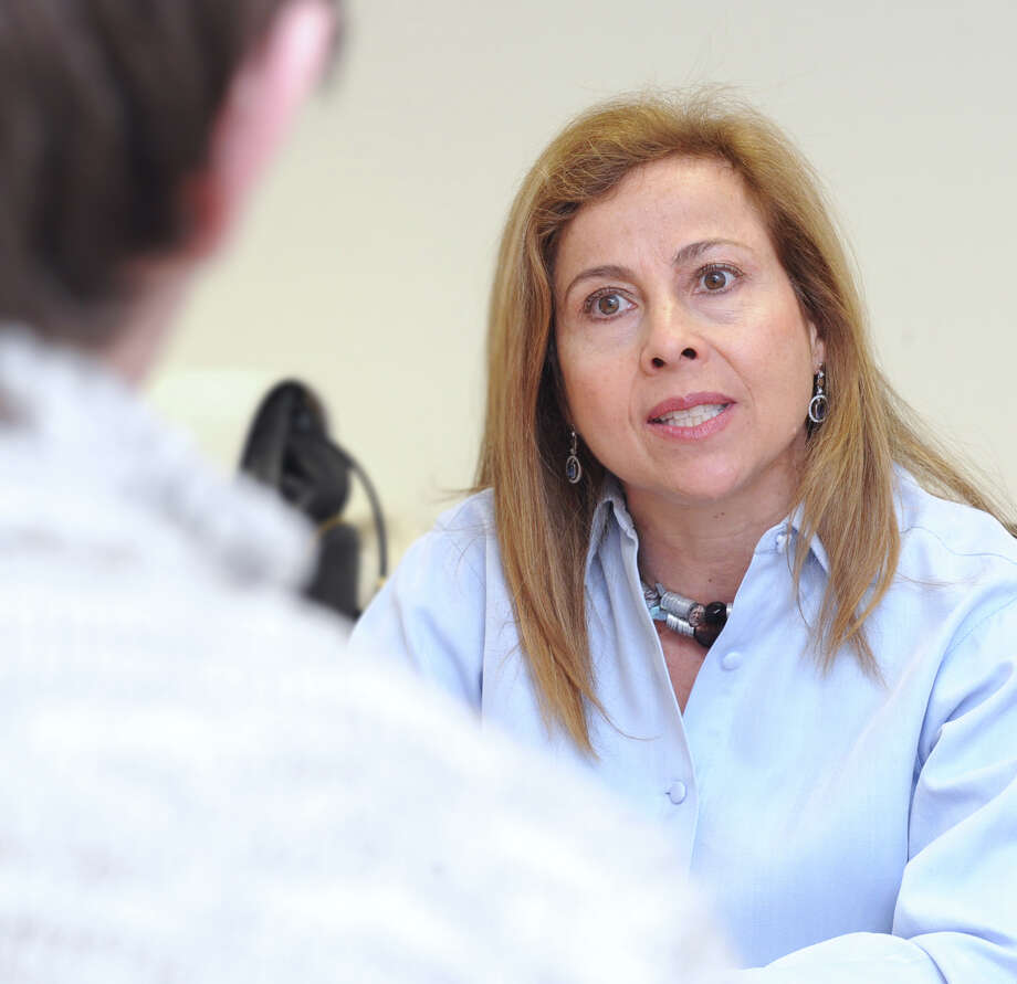 Greenwich Board of Education member Adriana Ospina at Greenwich Time in Greenwich, Conn., Friday, March 27, 2015. Ospina, a Democrat, has announced she will not be seeking re-election to the board. Photo: Bob Luckey / Greenwich Time