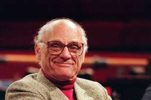 FILE--Playwright Arthur Miller is shown in this 1990 file picture.  The Pulitzer Prize winner for ``The Death of a Salesman'' made a rare appearance Friday, April 17, 1998 at the University of Evansville to speak at the Arthur Miller Symposium. (AP Photo)
