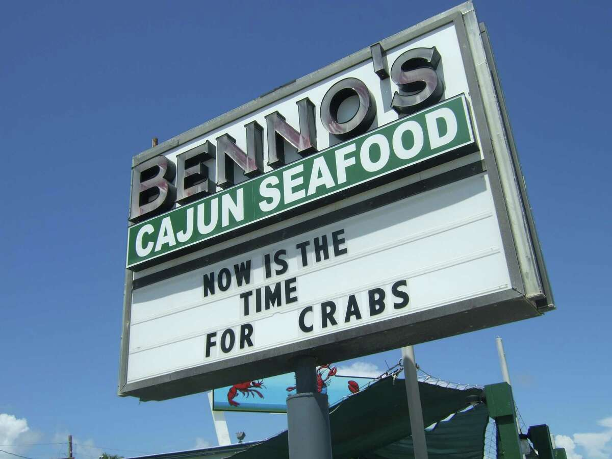 Benno's Cajun Seafood lets patrons know that crabs are available in Nederland, Texas.