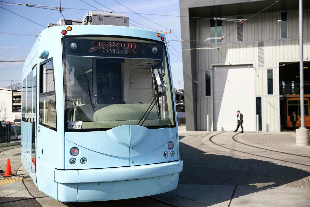 The first fully-assembled First Hill streetcar is shown at a new maintenance facility in Sodo on Friday, March 27, 2015.