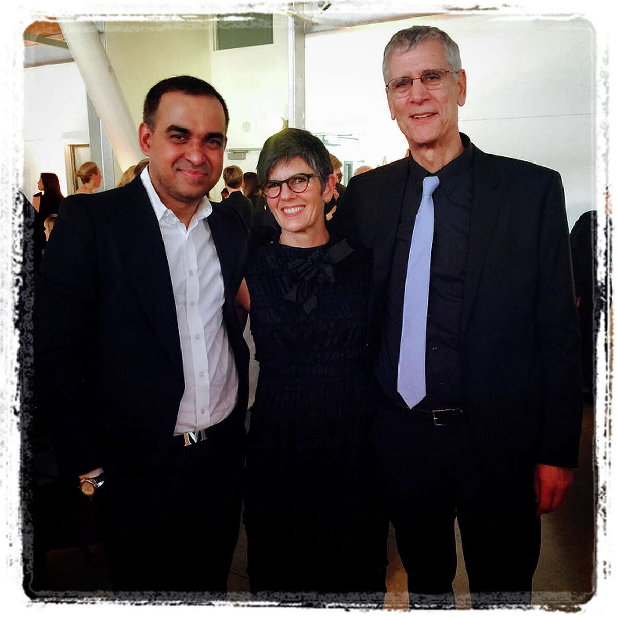 9:27 p.m. March 25: Designer Bibhu Mohapatra (left), chairwoman Amy Williams and President Stephen Beal.