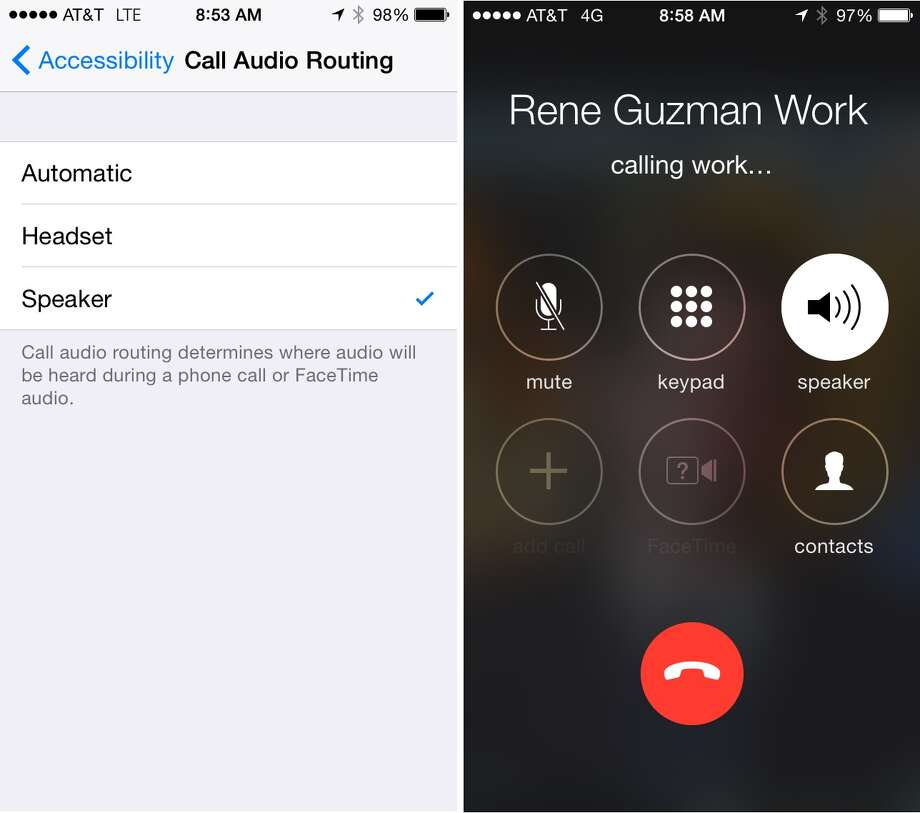 Screenshots of the iPhone showing (from left) how to reroute the call audio and what the screen looks like when making a call with speaker mode automatically running. Photo: Screenshot