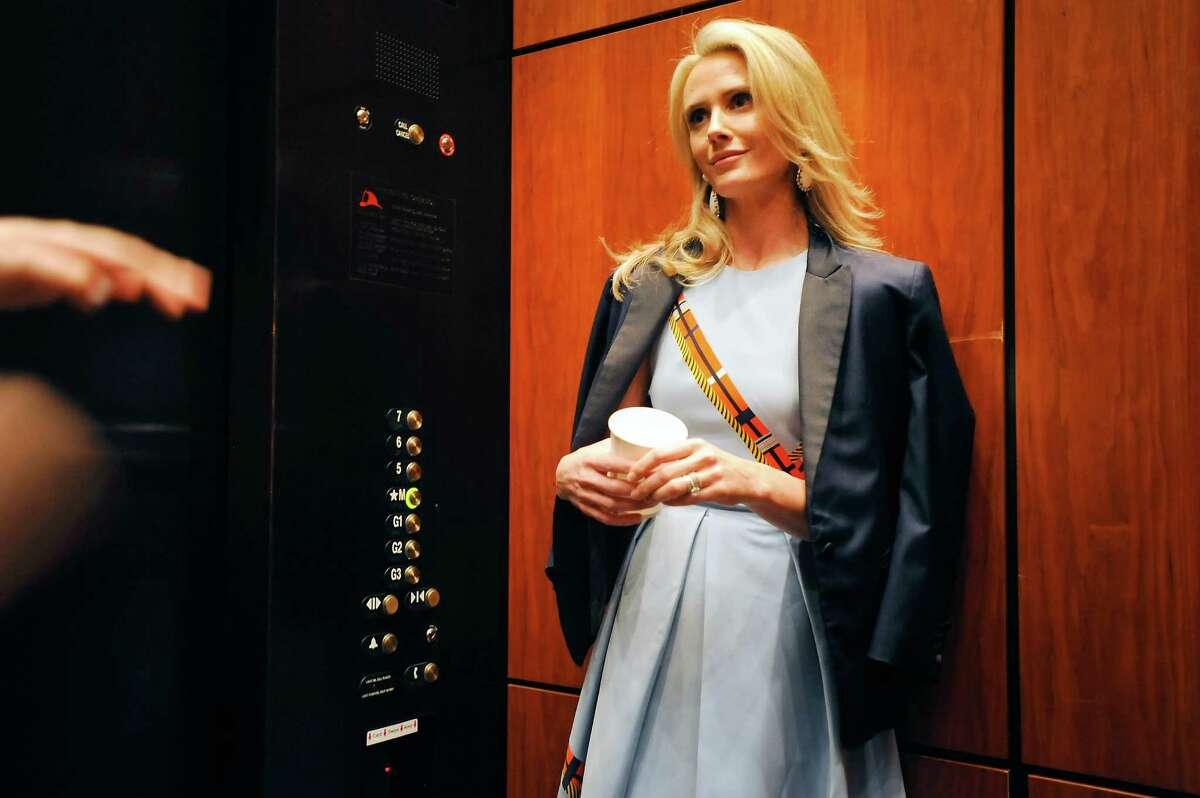 "Director Jennifer Siebel Newsom prepares to screen her new film, ""The Mask You Live In."""