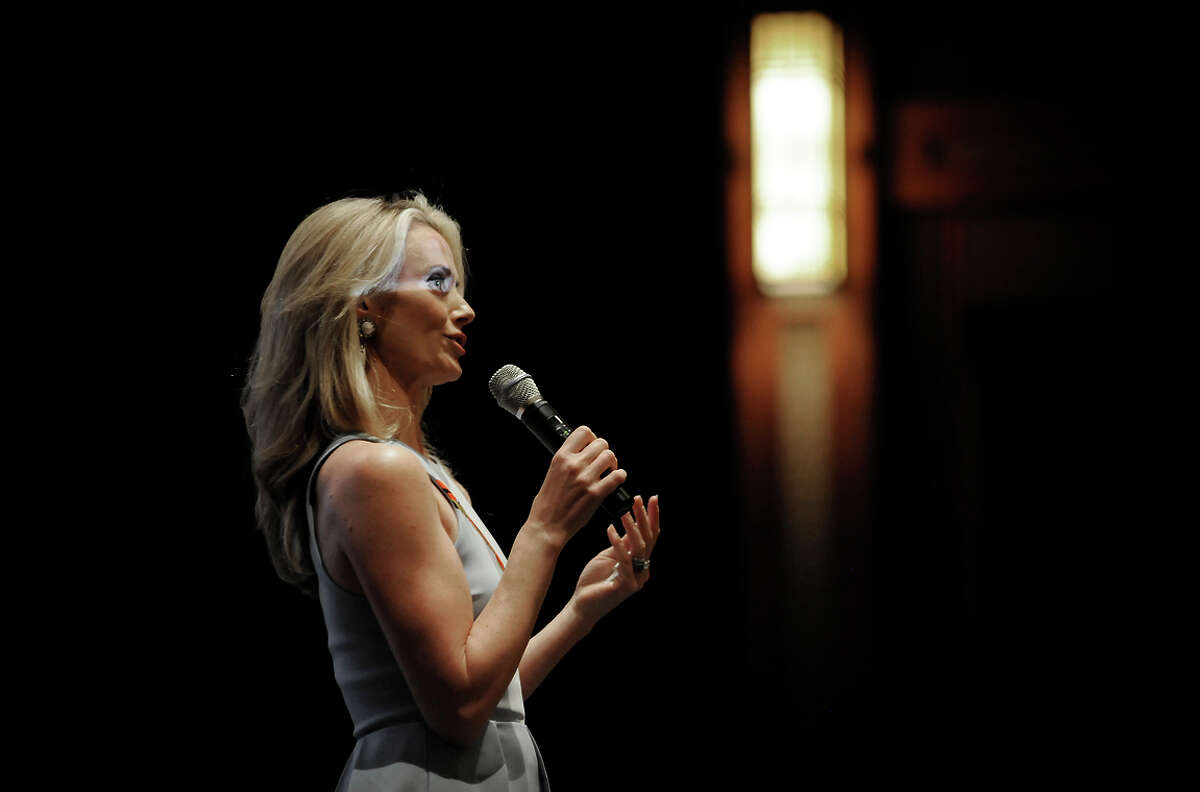 """Director Jennifer Siebel Newsom introduces her new documentary, """"The Mask You Live In,"""" at the """" before it's screening at the Premiere Theater in the Letterman Digital Arts Center in San Francisco, CA, on Monday, March 23, 2015."""
