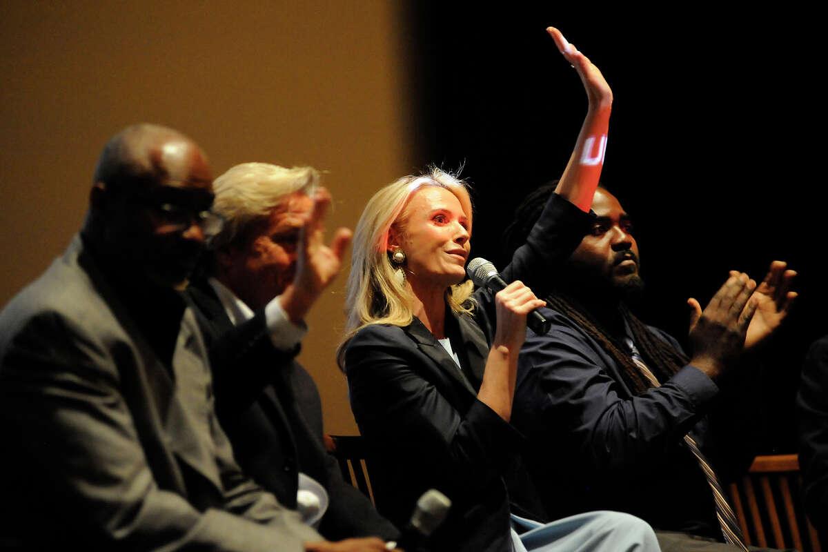Jennifer Siebel Newsom screens her new film with panelists Joseph E. Marshall (left), James Steyer and Ashanti Branch.