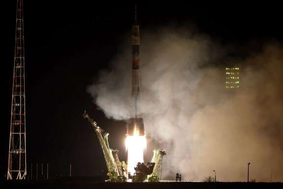 Russia's Soyuz TMA-16M spacecraft blasts off early Saturday from the launch pad at the Russian-leased Baikonur Cosmodrome in Kazakhstan.