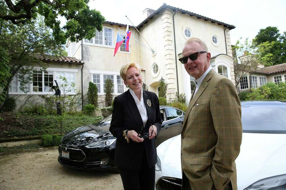 Barbara Pivnicka is an honorary consul to Slovakia, while husband Richard does diplomatic duty for the Czech Republic from their home in Woodside. They may be the only husband and wife to hold such positions in the United States. Photo: Liz Hafalia / The Chronicle / ONLINE_YES