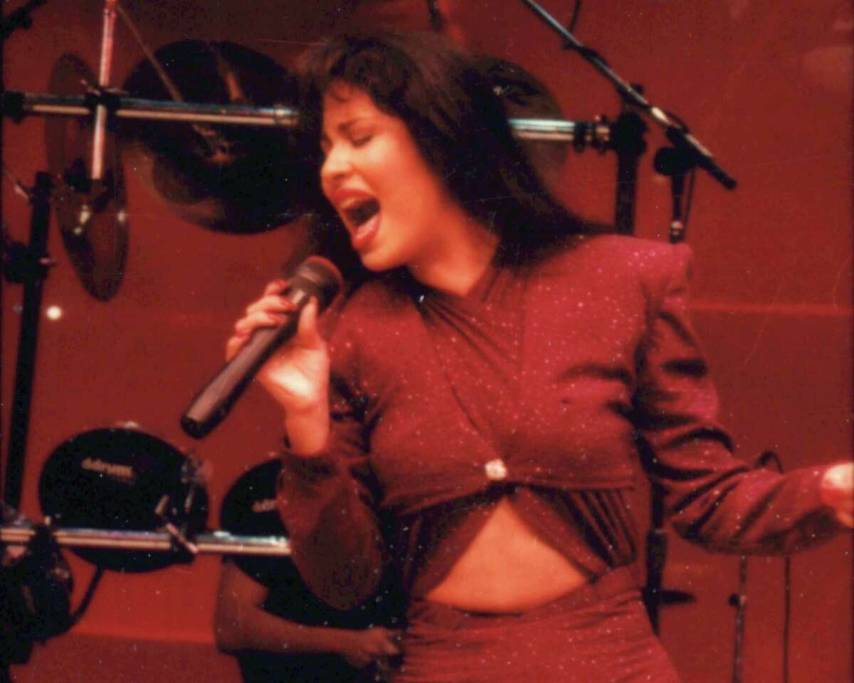 Tejano singer Selena performs at the Astrodome during the1995 Houston Livestock Show and Rodeo.