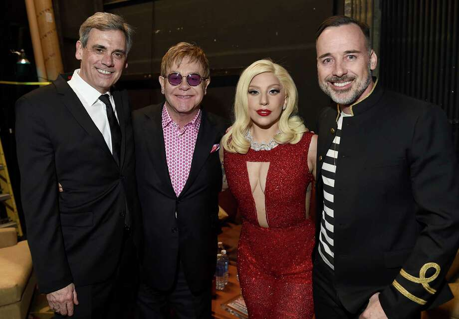 EXCLUSIVE - EXCLUSIVE - IMAGE DISTRIBUTED FOR GEFFEN PLAYHOUSE - Randall Arney, from left, Elton John, Lady Gaga and David Furnish attend Backstage at the Geffen on Sunday, March 22, 2015, in Los Angeles. (Photo by Jordan Strauss/Invision for Geffen Playhouse/AP Images) ORG XMIT: INVL Photo: Jordan Strauss / Invision