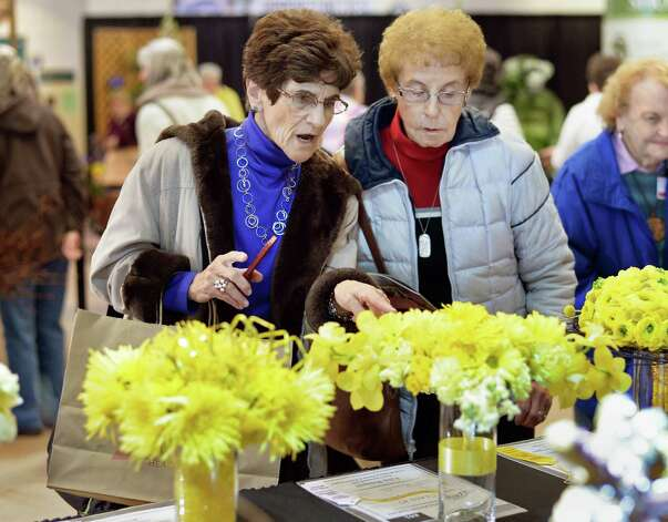 Flower lovers Ruth Dinowitz, left, of Latham and Alice Tepper of Schenectady look over entries in the Bouquet Squared class at the Capital District Garden & Flower Show at HVCC Friday March 27, 2015 in Troy, NY.  (John Carl D'Annibale / Times Union) Photo: John Carl D'Annibale / 00031205A