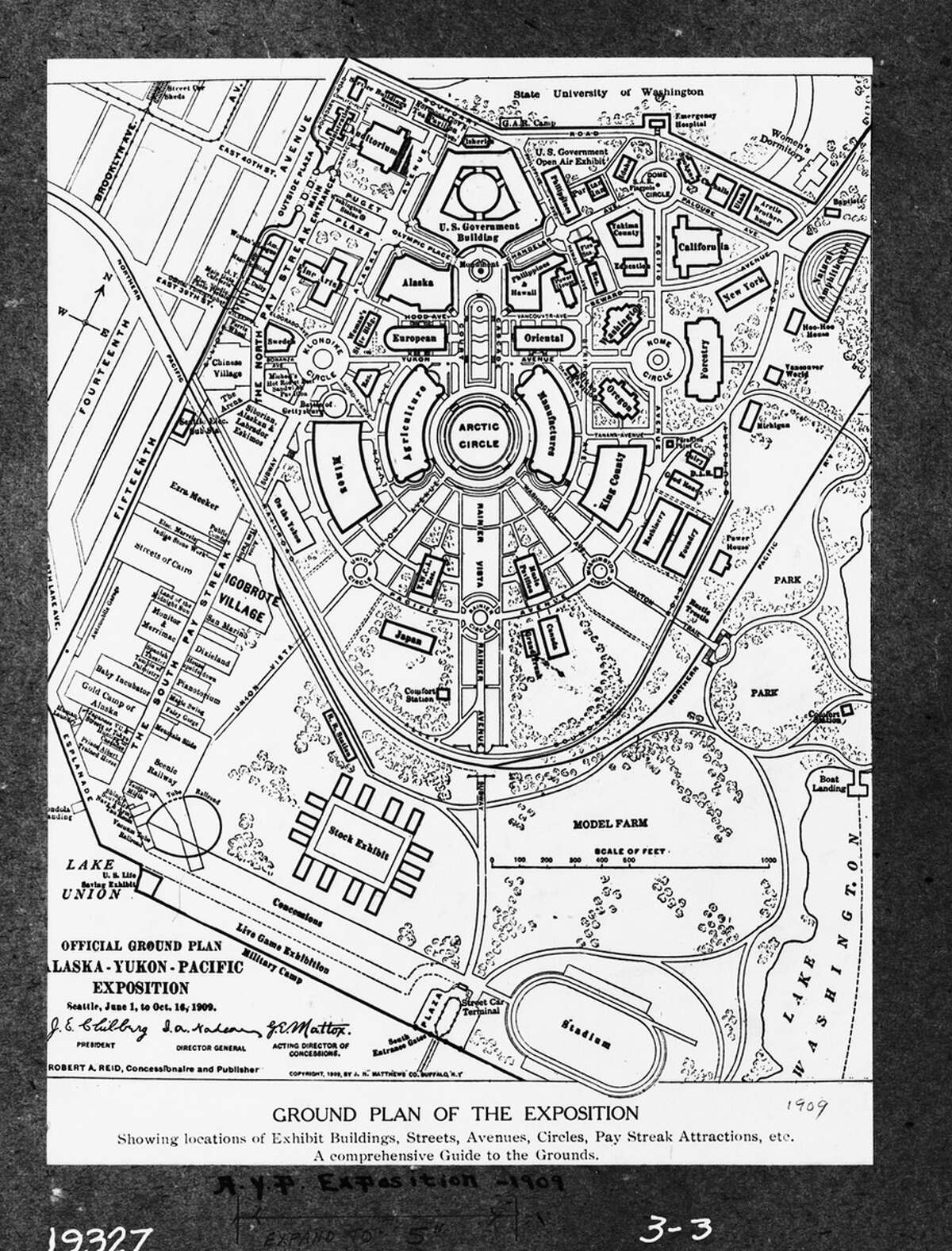 A layout map for the 1909 Alaska-Yukon Pacific Exposition.