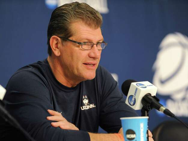 UConn coach Geno Auriemma answers questions from reporters during a press conference at the Times Union Center Friday, March 27, 2015 in Albany, N.Y. UConn takes on Texas in the NCAA women's tournament tomorrow.  (Lori Van Buren / Times Union) Photo: Lori Van Buren / 00031196A