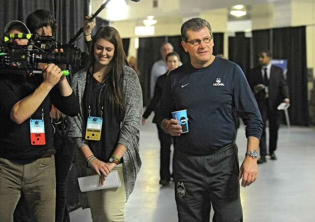 UConn coach Geno Auriemma walks back to the locker room after answering questions from reporters at a press conference at the Times Union Center Friday, March 27, 2015 in Albany, N.Y. UConn takes on Texas in the NCAA women's tournament tomorrow.  (Lori Van Buren / Times Union) Photo: Lori Van Buren / 00031196A