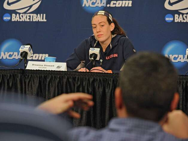 UConn player Breanna Stewart answers questions from reporters during a press conference at the Times Union Center Friday, March 27, 2015 in Albany, N.Y. UConn takes on Texas in the NCAA women's tournament tomorrow.  (Lori Van Buren / Times Union) Photo: Lori Van Buren / 00031196A