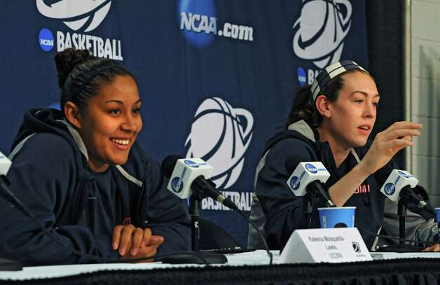 UConn players Kaleena Mosqueda-Lewis, left, and Breanna Stewart answers questions from reporters during a press conference at the Times Union Center Friday, March 27, 2015 in Albany, N.Y. UConn takes on Texas in the NCAA women's tournament tomorrow.  (Lori Van Buren / Times Union) Photo: Lori Van Buren / 00031196A