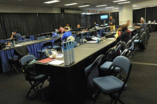 A media room is set up for reporters and photographers at the Times Union Center for the NCAA women's tournament Friday, March 27, 2015 in Albany, N.Y. UConn takes on Texas tomorrow.  (Lori Van Buren / Times Union) Photo: Lori Van Buren / 00031196A